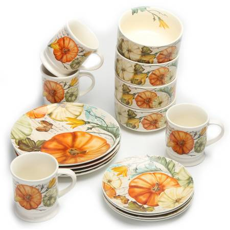 Mainstays 16-Piece Festive Fall Pumpkins Dinnerware Set