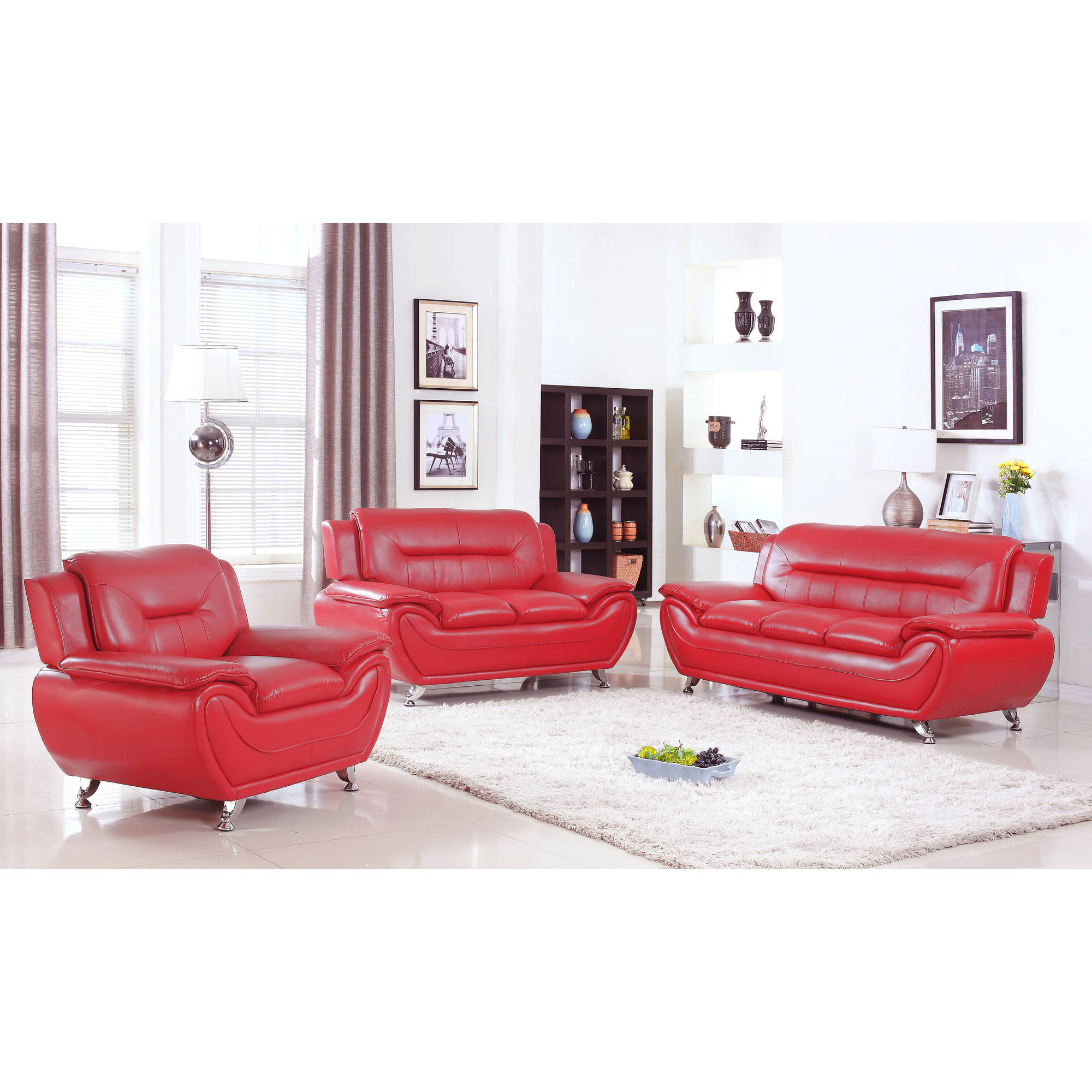 rosso red leather 3 piece sofa set chesterfield bed pc baxton studio arcadia modern and