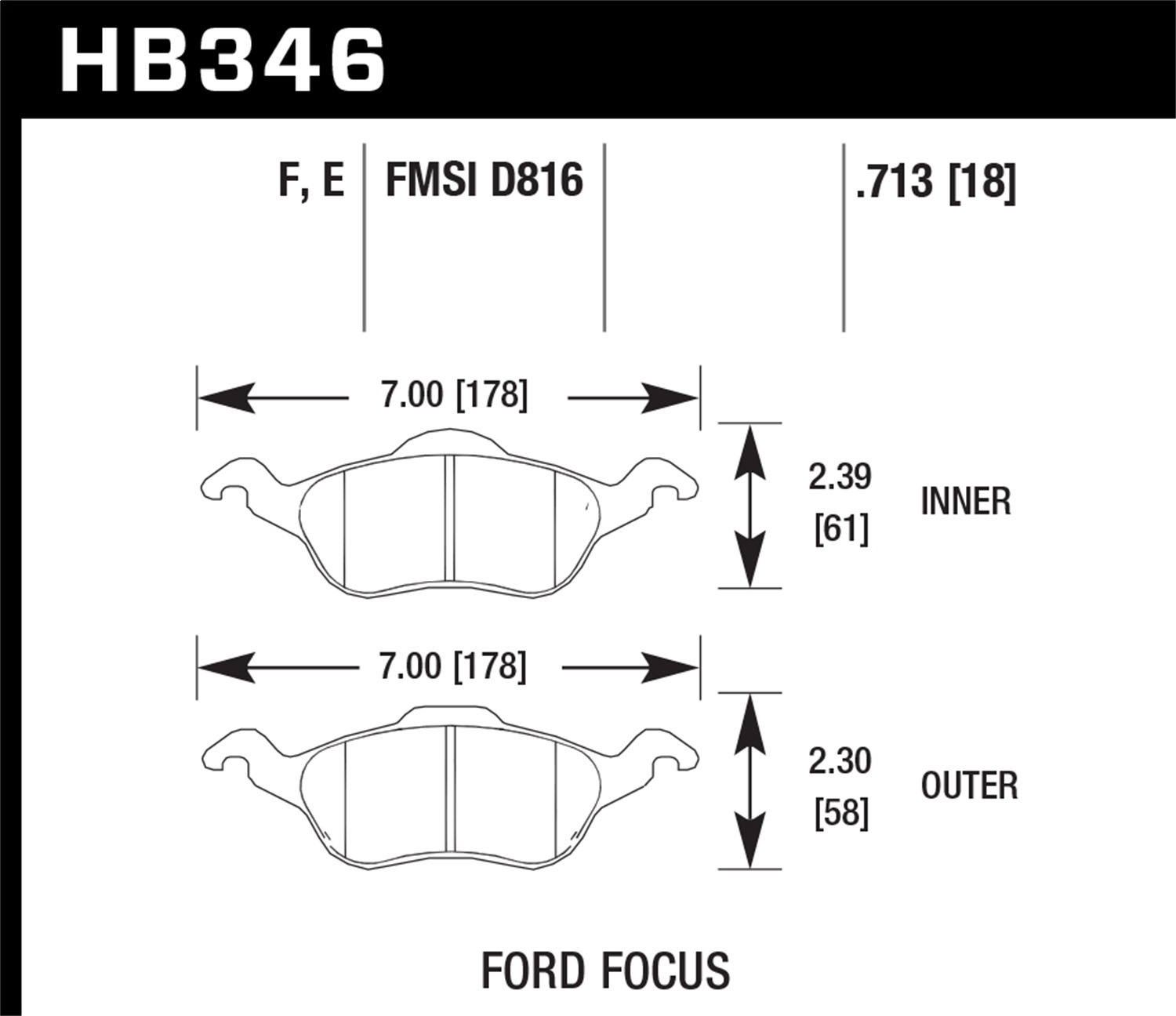 Hawk 00-04 Ford Focus (exc SVT) D816 HPS Front Brake Pads