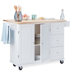 Drop Leaf Kitchen Cart Custom Island For Sale Modhaus Living Modern Transitional With Utility Drawers 2 Storage Cabinet And Towel Holder Includes Pen White Walmart Com