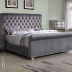 Best Master Furniture Jean Carrie Upholstered Sleigh Bed Queen Grey Velvet Walmart Com Walmart Com