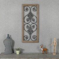 Rectangular Wood and Metal Scroll Wall Decor