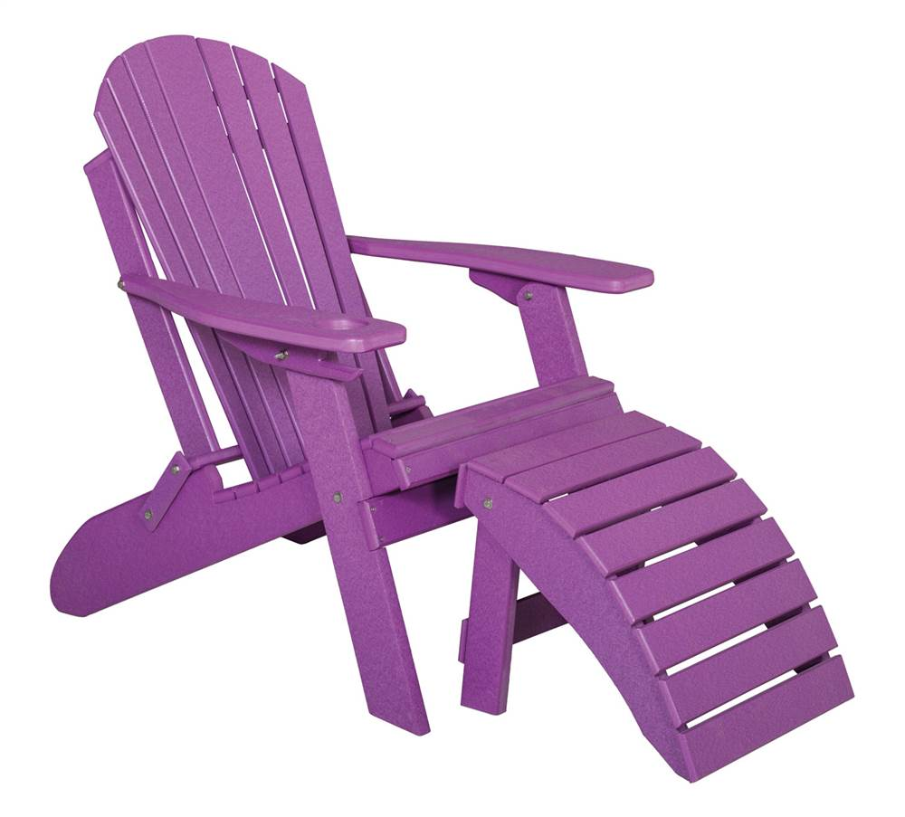 Folding Adirondack Chair with Footrest in Tropical Purple ...