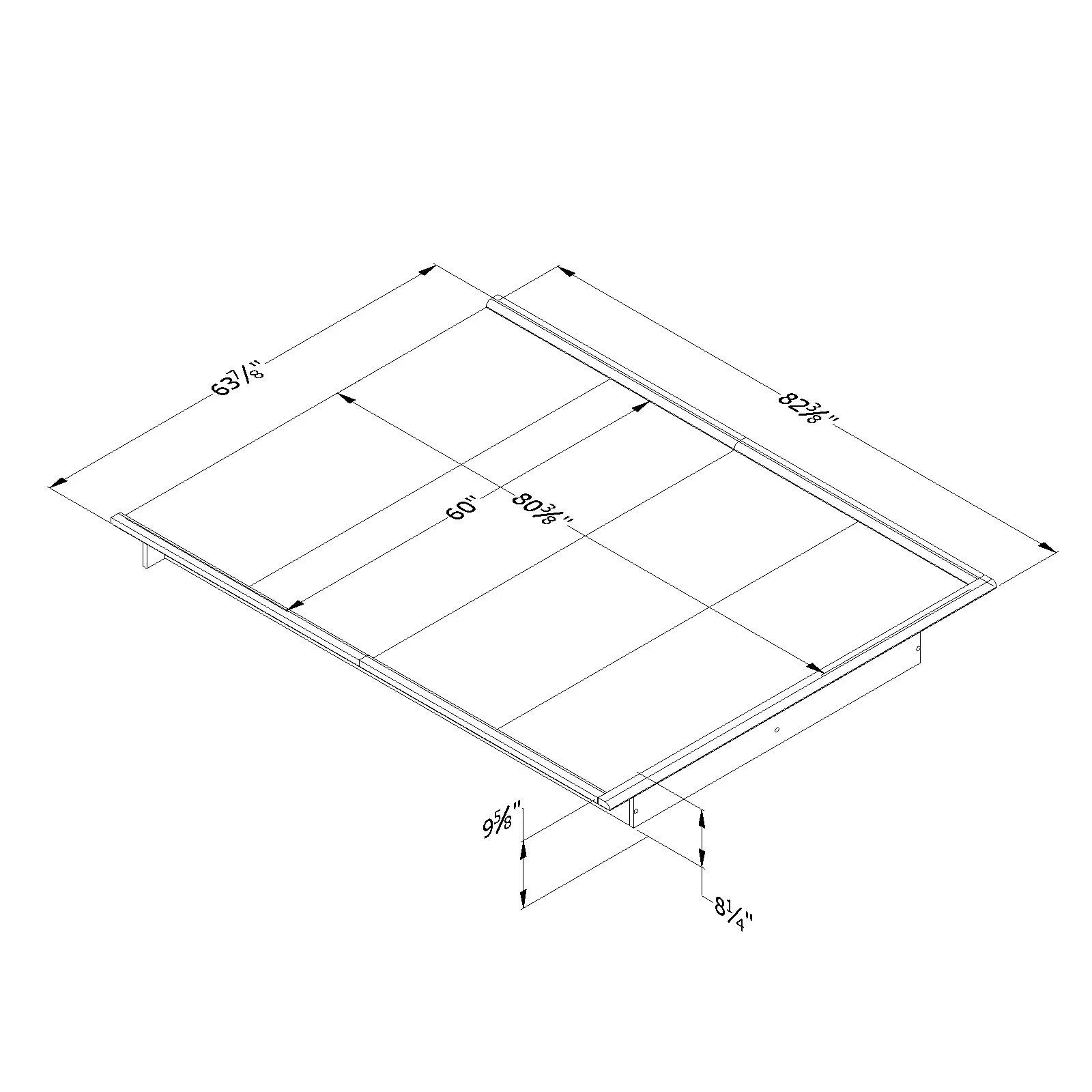 Queen Size Platform Bed Frame Bedroom Foundation Furniture