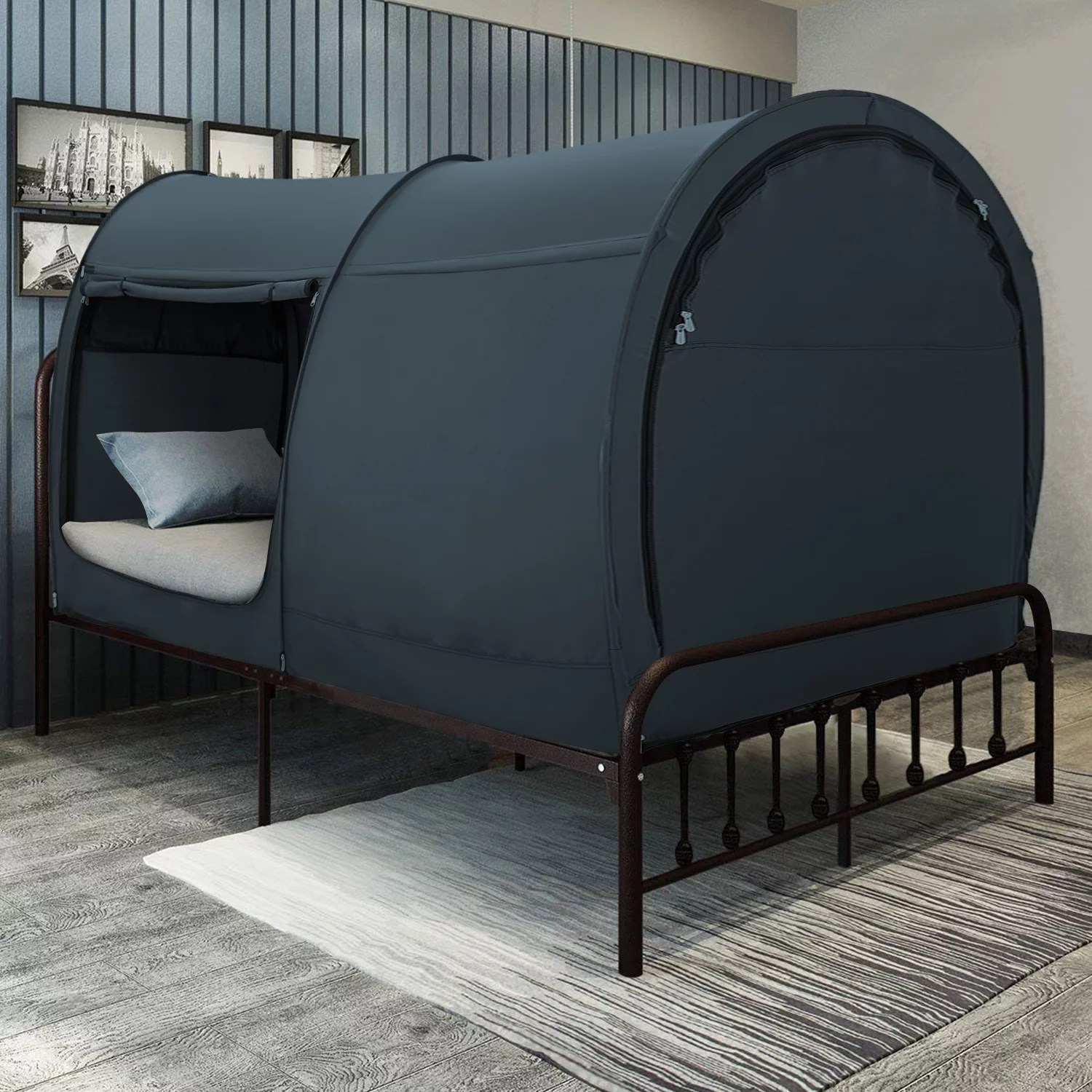 bed canopy tent w indoor curtains mattress not included twin charcoal walmart com