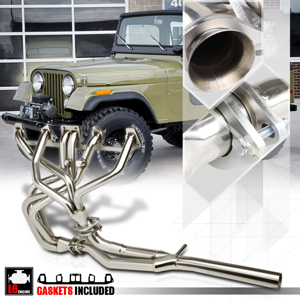 hight resolution of ss full length exhaust header manifold y pipe for 81 86 jeep cj7 cj5 4 2 258 i6 82 83 84 85 walmart com