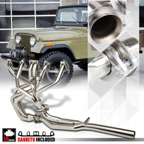 small resolution of ss full length exhaust header manifold y pipe for 81 86 jeep cj7 cj5 4 2 258 i6 82 83 84 85 walmart com