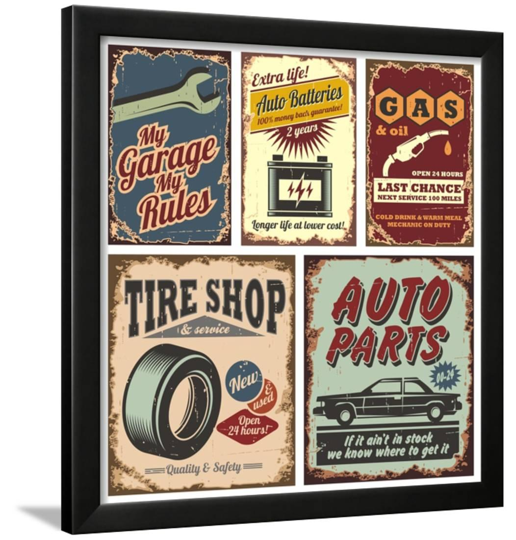 vintage car metal signs
