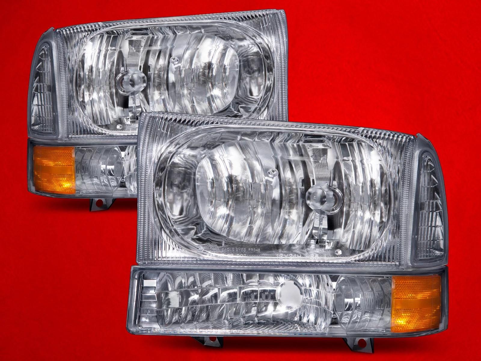 hight resolution of ford 1999 04 f 250 f 350 f 450 superduty excursion chrome headlights set w signal lights fo2502183 fo2503183 walmart com