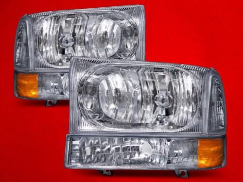 small resolution of ford 1999 04 f 250 f 350 f 450 superduty excursion chrome headlights set w signal lights fo2502183 fo2503183 walmart com