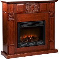 Belvedere Carved Electric Fireplace, Mahogany - Walmart.com