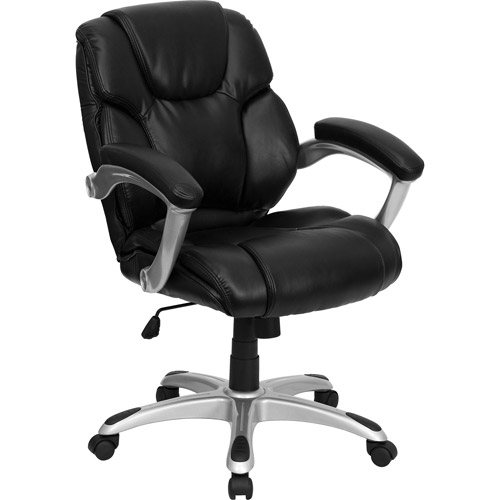 walmart leather office chair Leather Mid-Back Office Computer Chair, Black - Walmart.com