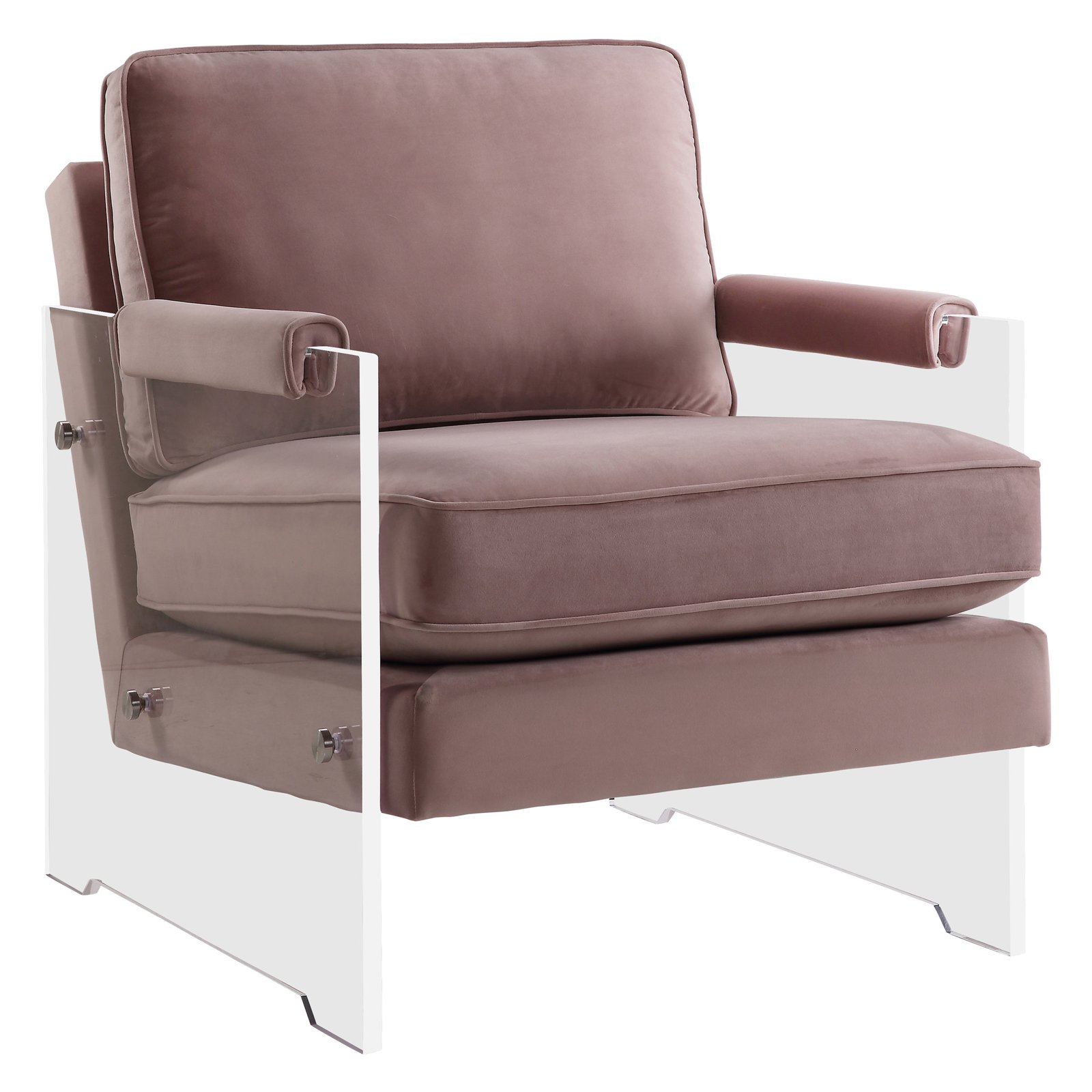 Lucite Chair Serena Blush Velvet Lucite Chair
