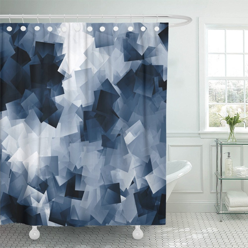 pknmt gray abstract white and navy blue cubes scraps of black blank blocks board book shower curtain bath curtain 66x72 inch walmart com