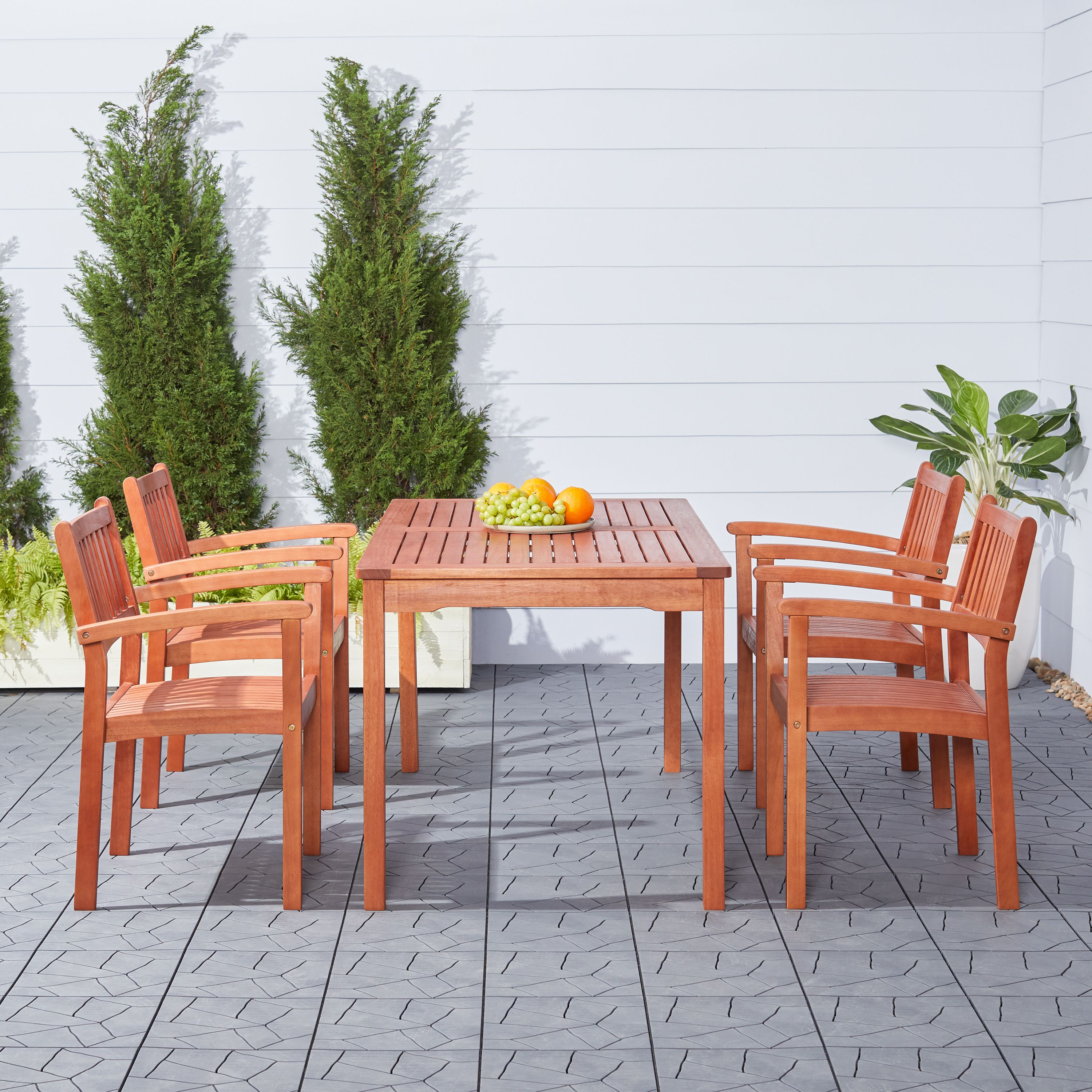 malibu outdoor 5 piece wood patio dining set with stacking chairs