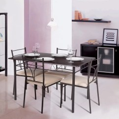 Rustic Metal Kitchen Chairs Game Table And Set Ikayaa 5pcs 4 Person Dinning Walmart Com