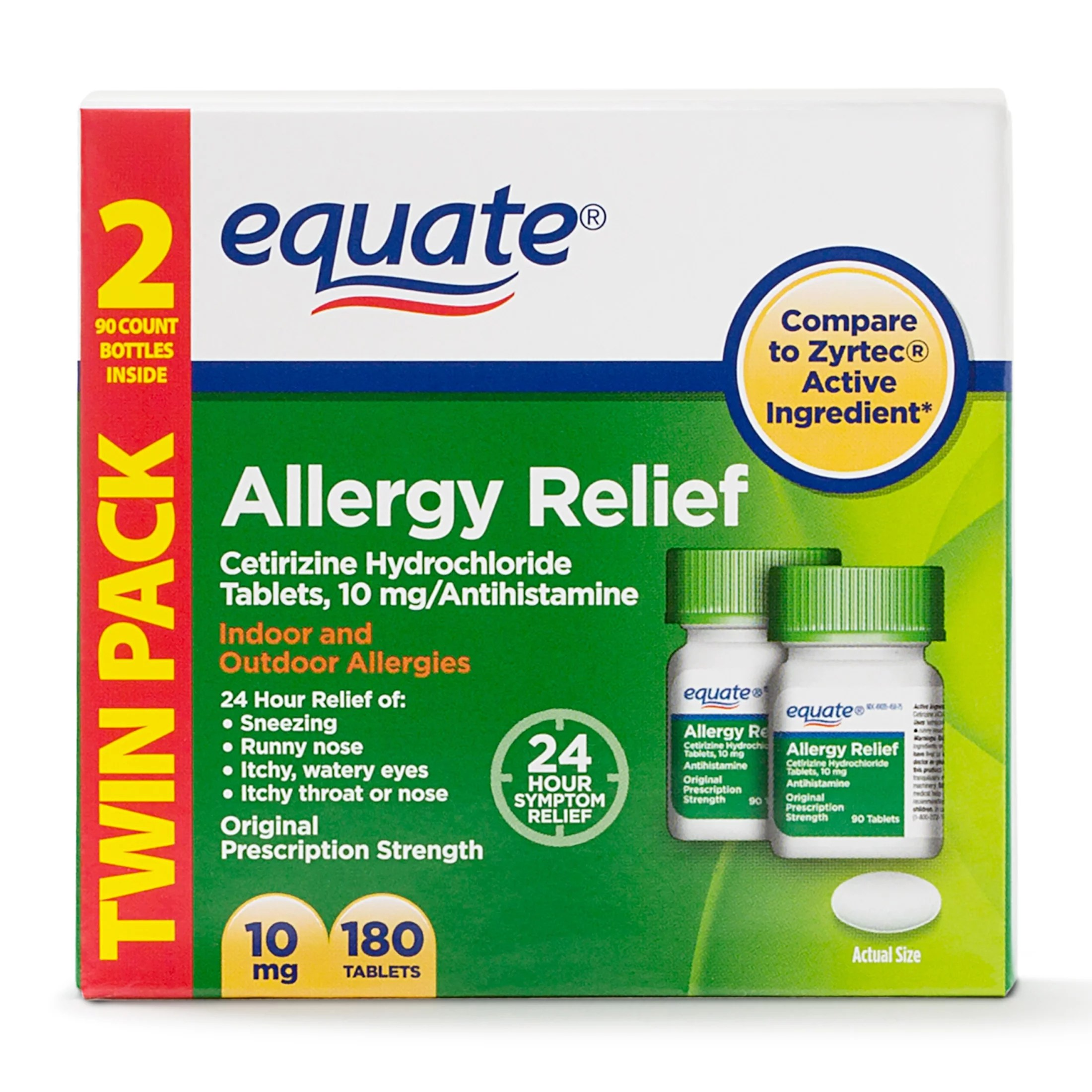 Equate Allergy Relief Cetirizine Hydrochloride Tablets ...