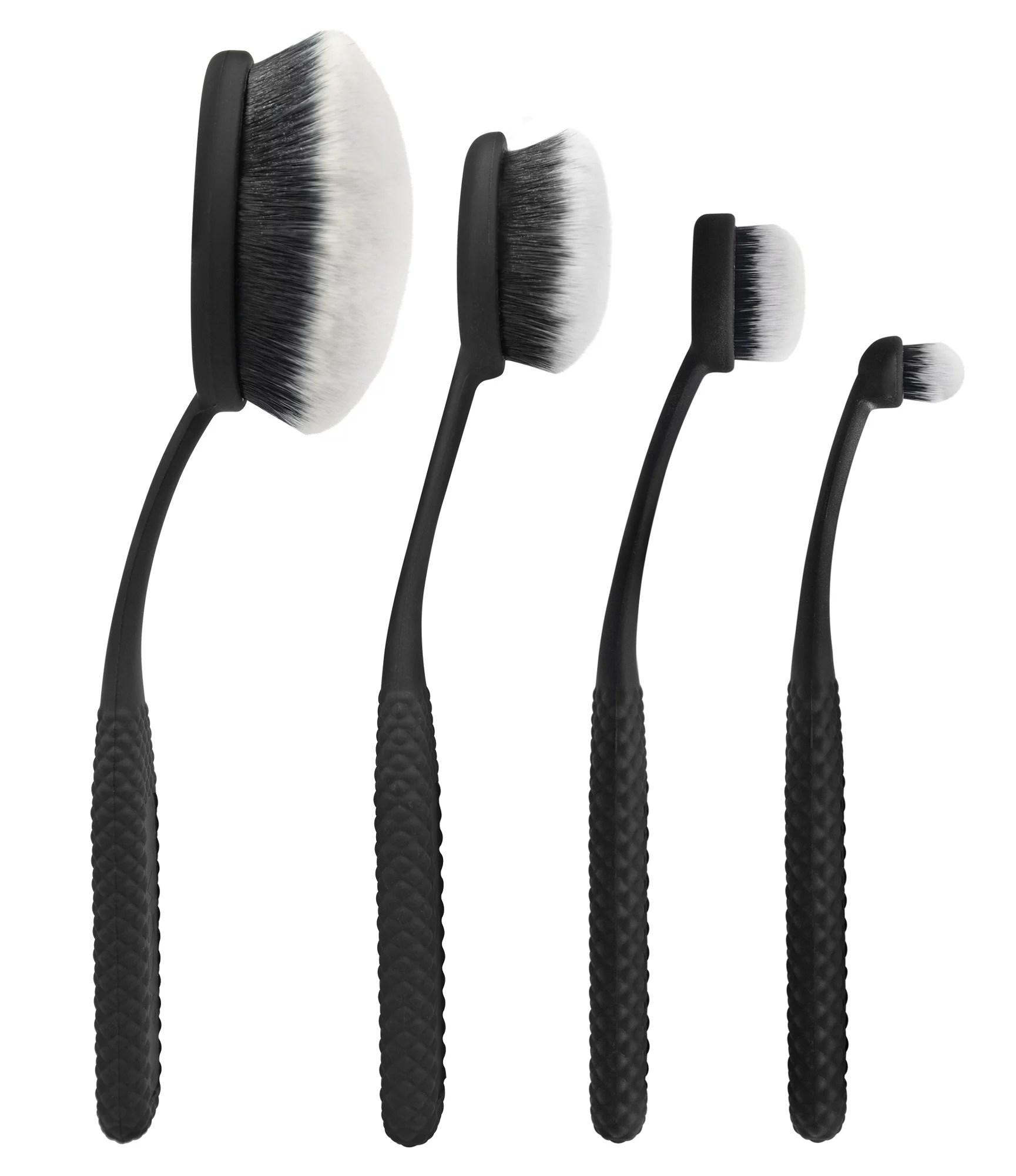 moda pro 4pc oval brush face perfecting kit black