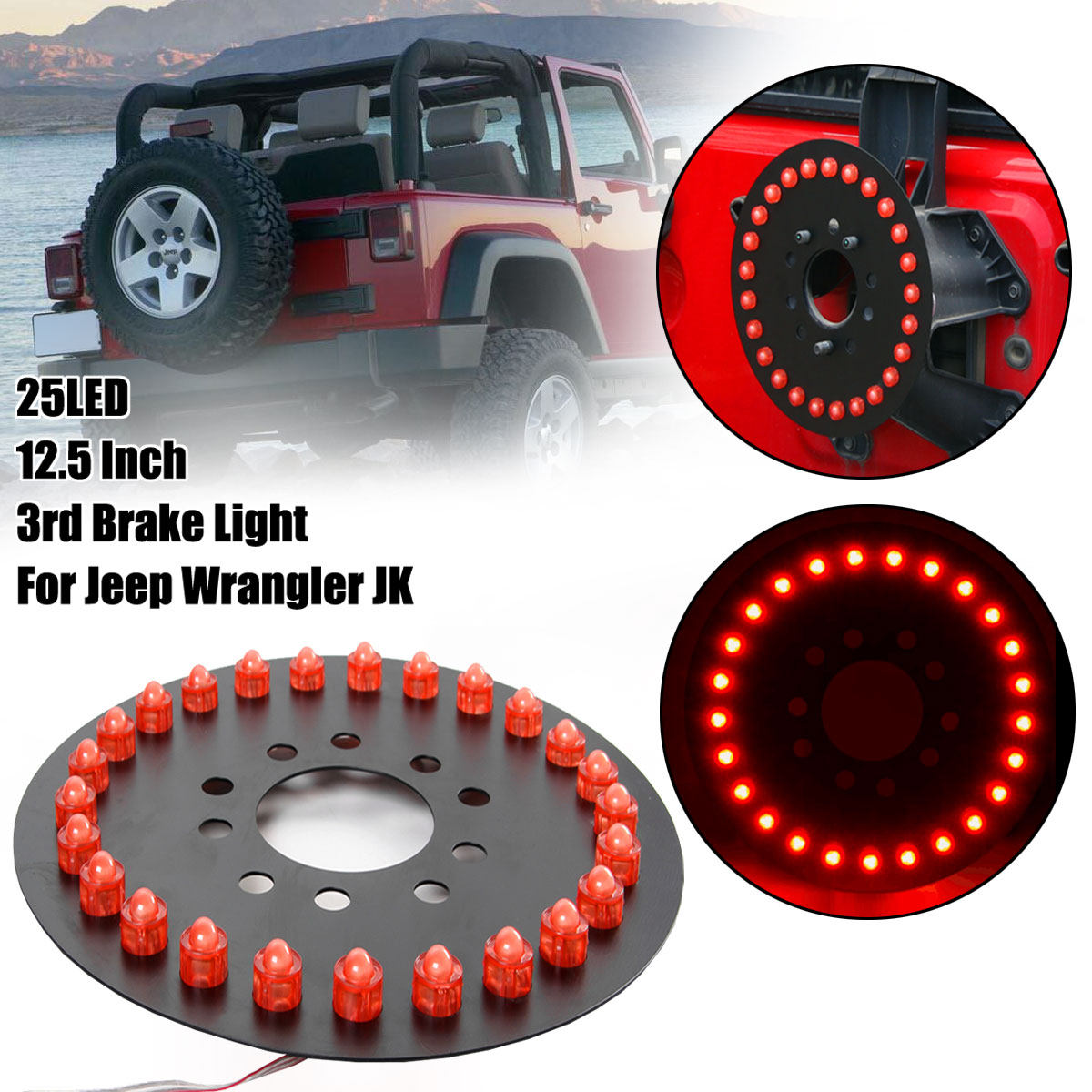hight resolution of 1 pc waterproof car spare tire led lamp rear 3rd brake decor light for jeep wrangler jk accessories walmart com