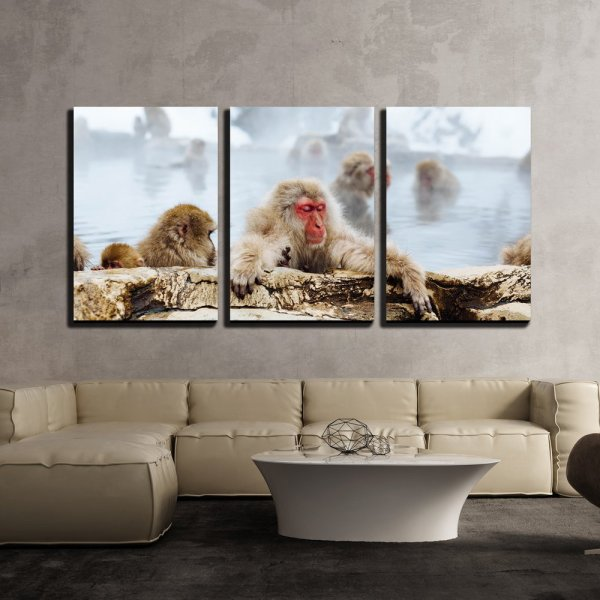 Wall26 - 3 Piece Canvas Wall Art Japanese Macaque