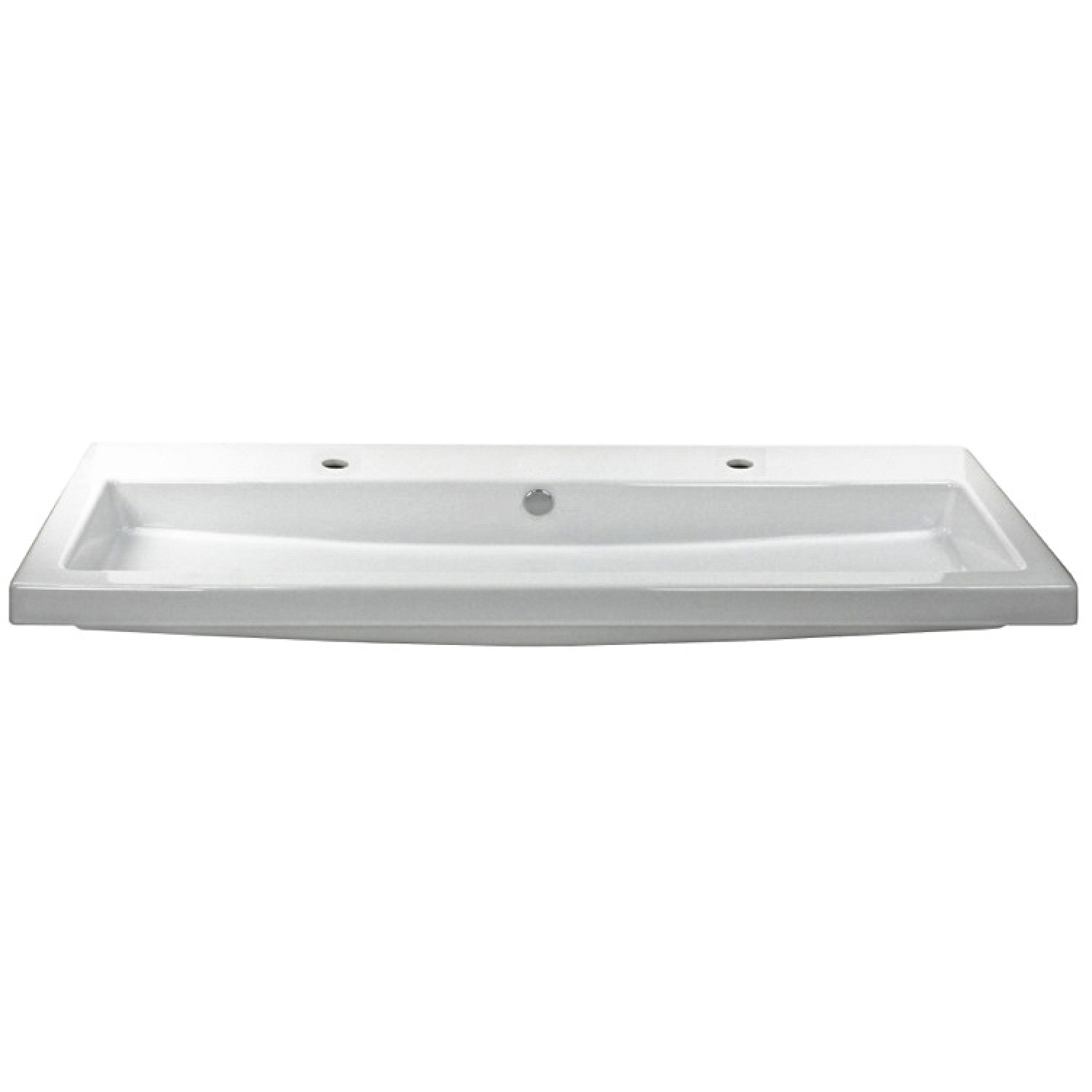 tecla cangas rectangular ceramic wall mounted trough style built in sink with two faucet holes modern contemporary double 4 ft white walmart com