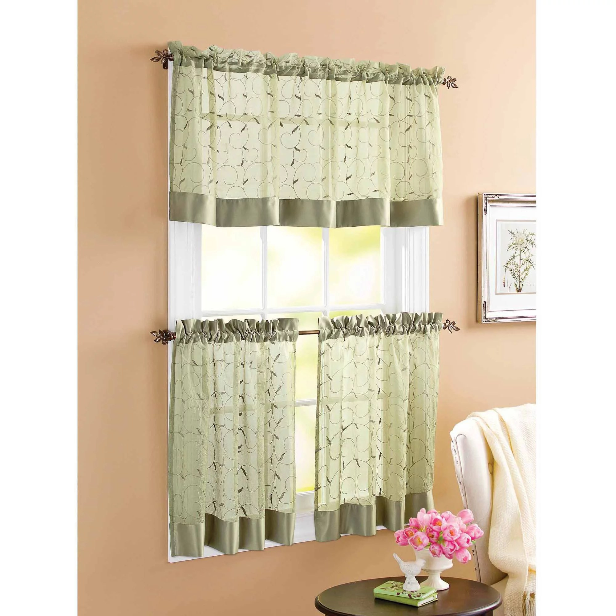 Better Homes And Gardens Linen Leaf 3 Piece Kitchen Curtain Set