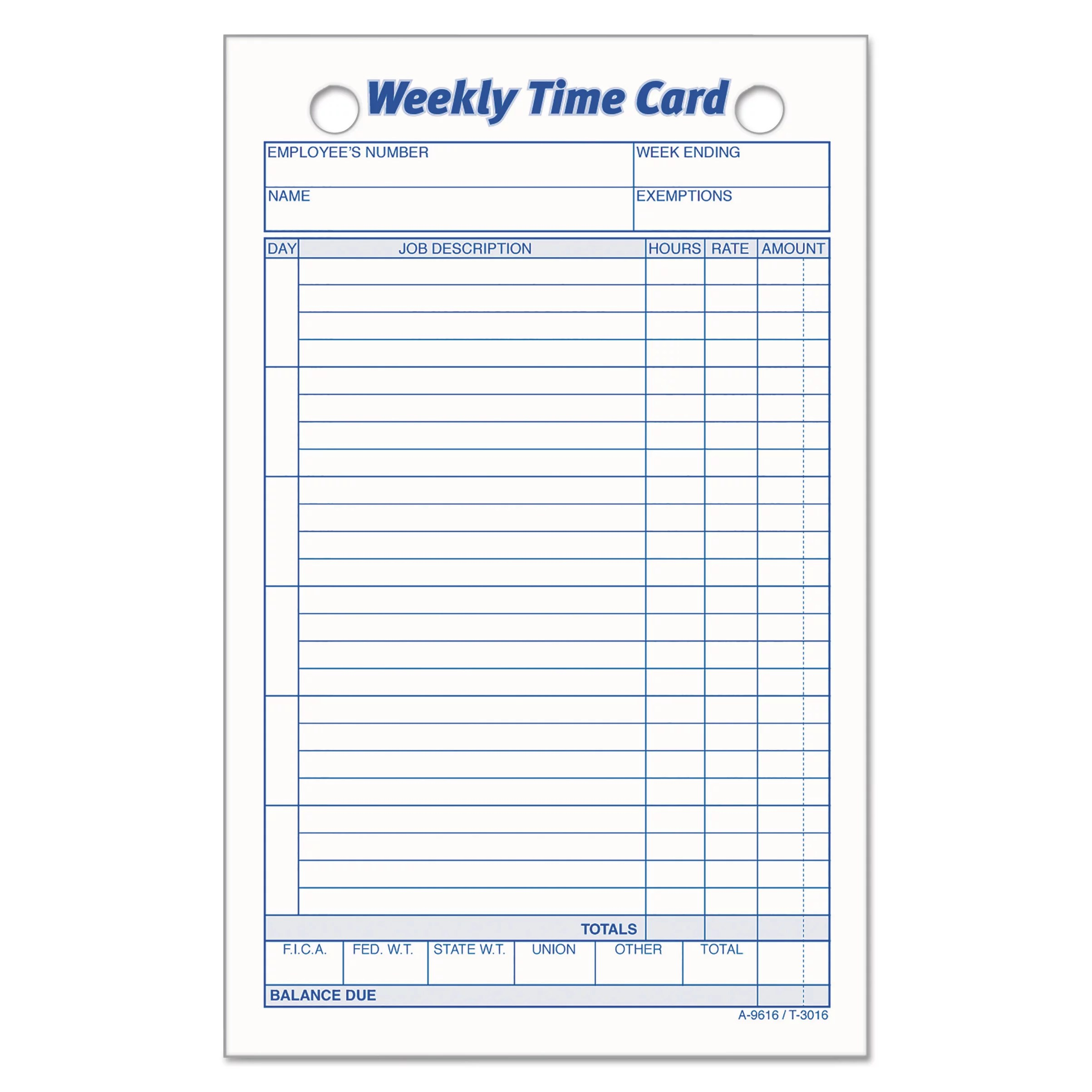 Tops Employee Time Card Weekly 4 1 4 X 6 3 4 100 Pack