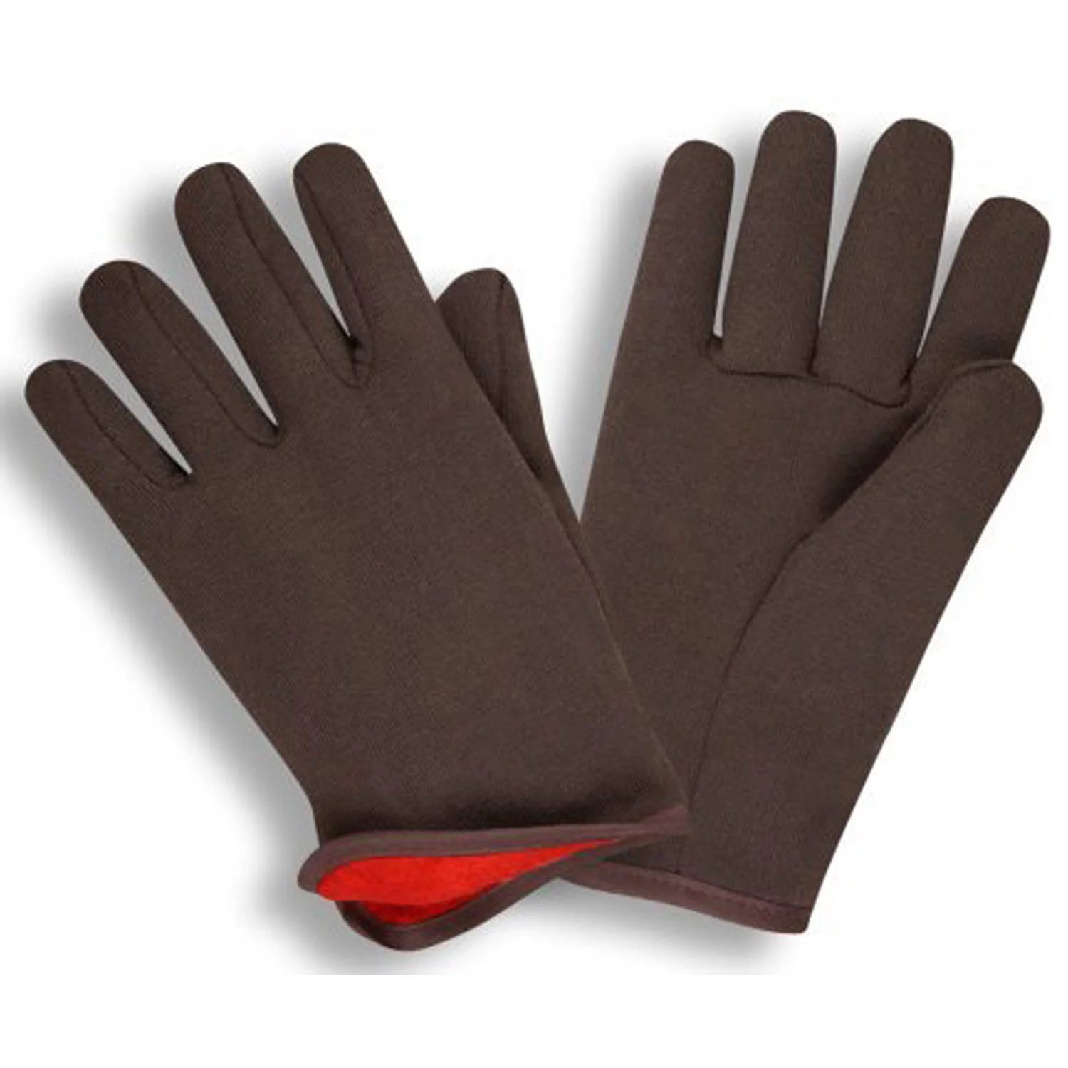 G & F Jersey Winter Gloves, Brown with Red Fleece Lining, Large, 12 Pairs