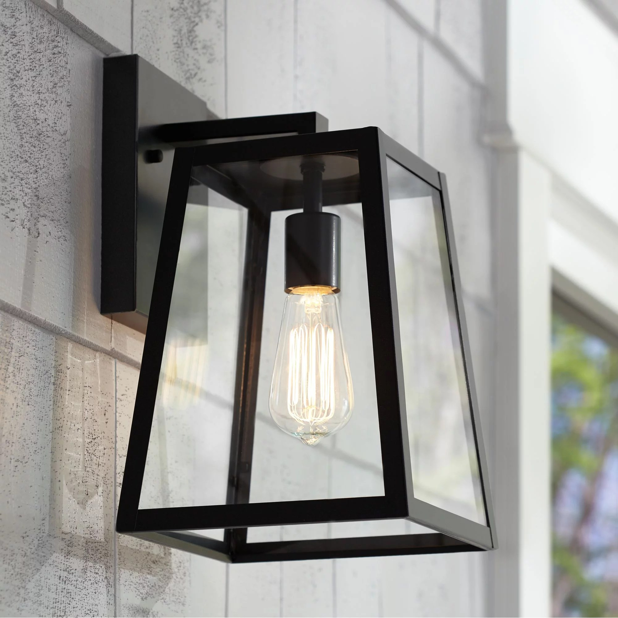 john timberland modern outdoor wall light fixture black 13 clear glass edison style bulb for exterior house porch patio