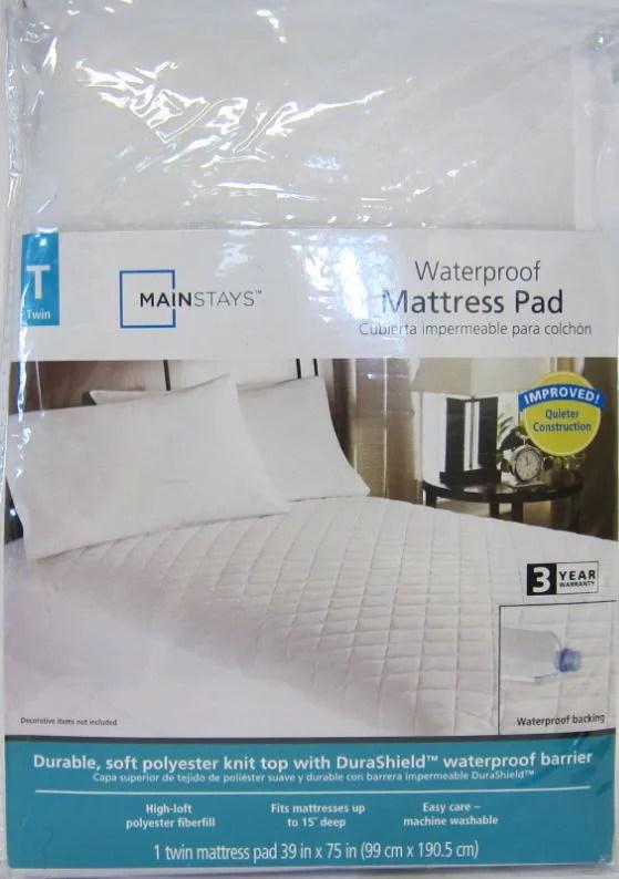 Mainstays Waterproof Fitted Polyester Mattress Pad Walmart Com Walmart Com