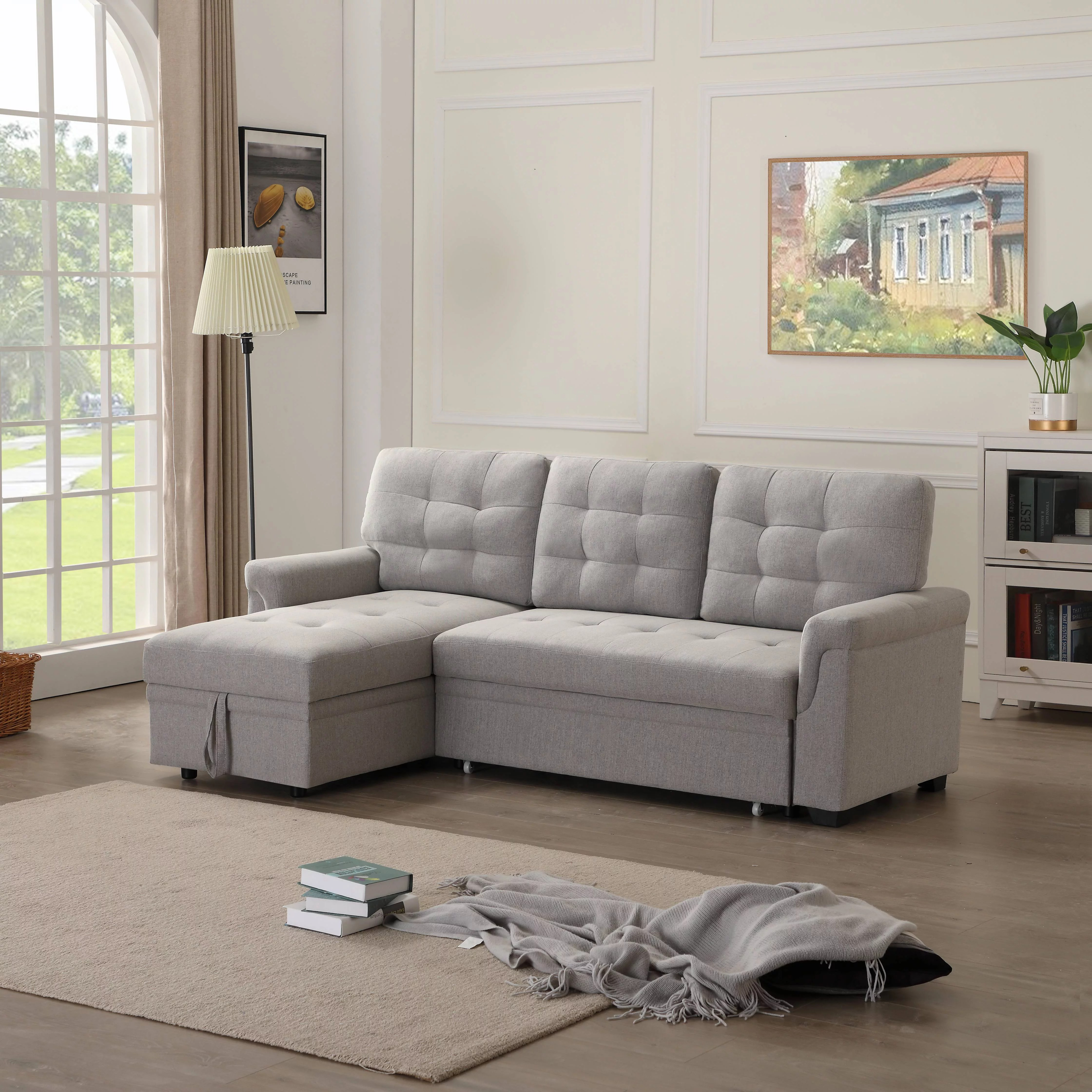 Sectional Sofa Bed With Reversible Chaise 86 W Modern L Shaped Sectional Sofa With Storage Segmart 3 Seat Functional Grey Linen Small Spaces Sectional Sofa Couch For Living Room Bedroom L5097 Walmart Com