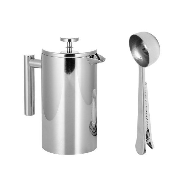 Stainless Steel French Press Coffee Tea Maker Double Wall
