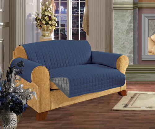 reversible quilted furniture protector sofa couch pets slip cover navy blue gray