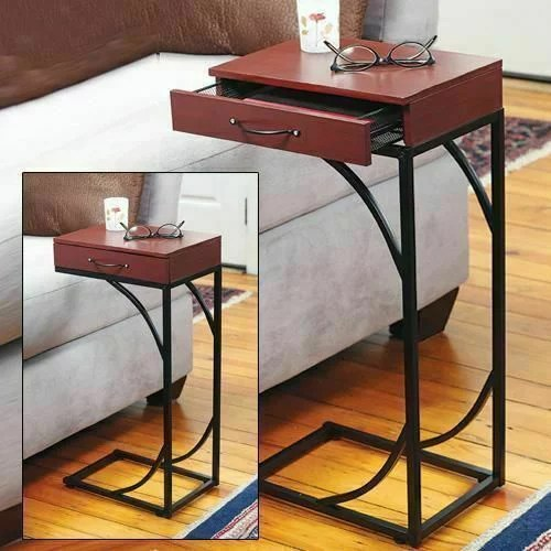 contemporary accent side end table with drawer small sofa wooden table tray snack table slide under couch