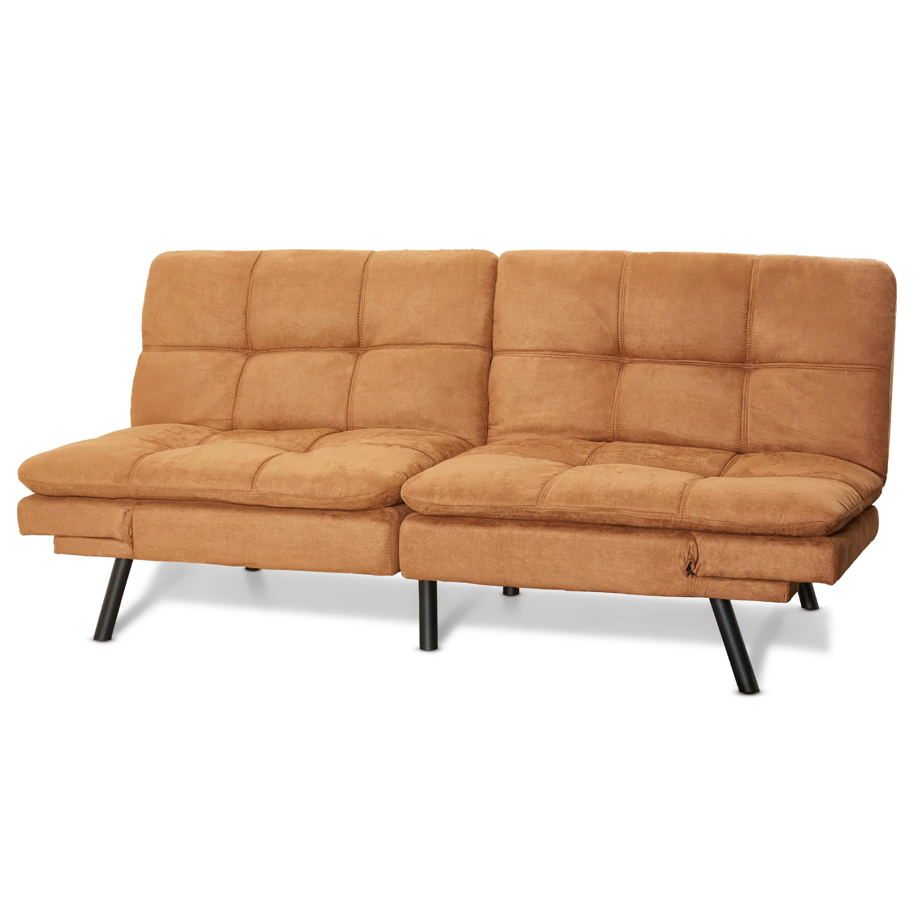 Details About Futon Couch Sleeper Sofa Loveseat Convertible Sectional Bed Chair Camel Swede