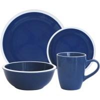 Mainstays 'Hadleigh' 16-Piece Dinnerware Set, Navy ...