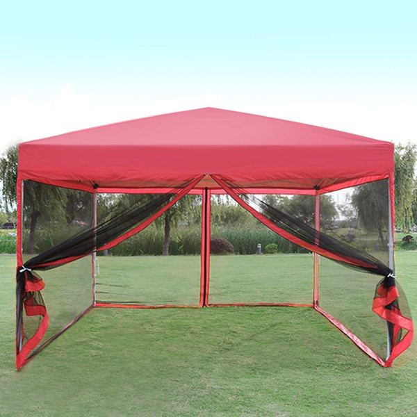 Vivohome Outdoor Ez Pop Canopy Screen Party Tent With Mesh Side Walls 10 X Ft - Red