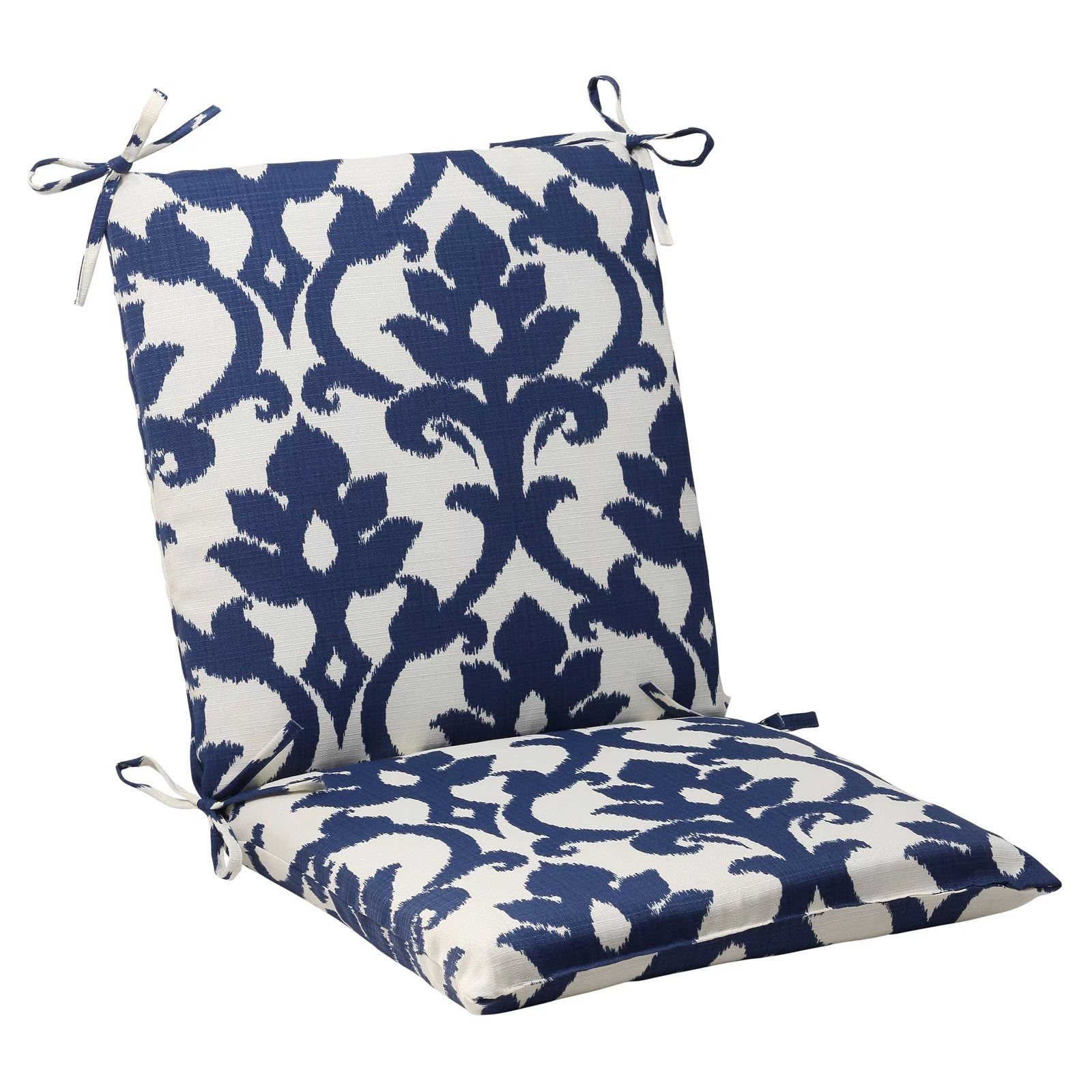 pillow perfect outdoor indoor bosco navy squared corners chair cushion walmart com
