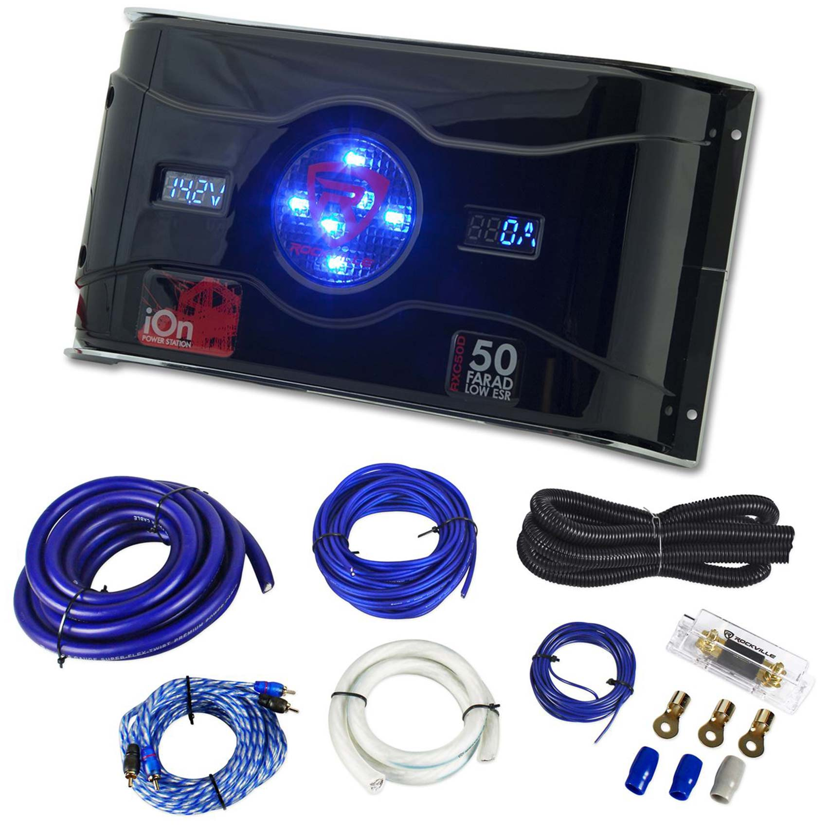 medium resolution of rockville 50 farad hybrid led car capacitor w dual meters 0 gauge amp wire kit car amp wiring kit walmart