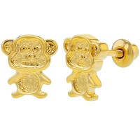 18k Gold Plated Little Monkey Children Kids Screw Back ...