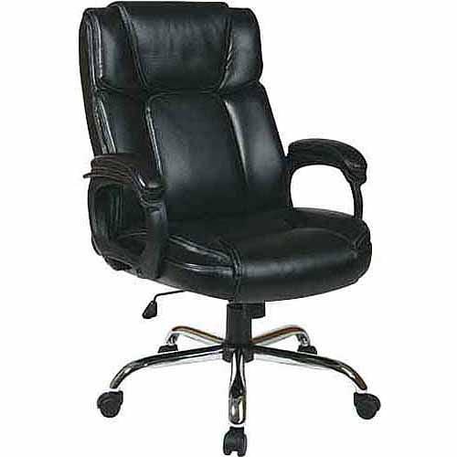 walmart leather office chair Big Man's Executive Leather Office Chair, Black - Walmart.com