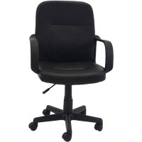 Hodedah PU Leather Mid-Back Office Chair, Black - Walmart.com