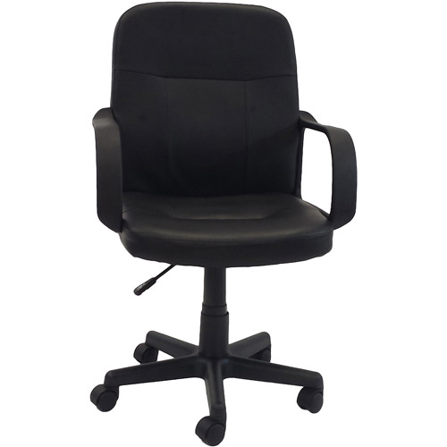walmart leather office chair Hodedah PU Leather Mid-Back Office Chair, Black - Walmart.com
