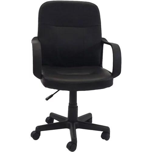 mid back office chair black Hodedah PU Leather Mid-Back Office Chair, Black - Walmart.com