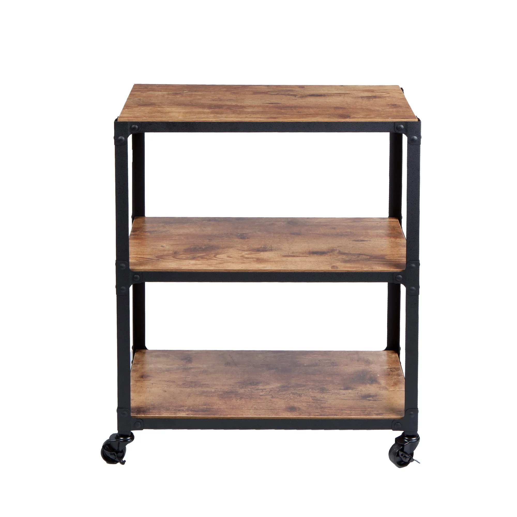 kitchen rolling cart french country island islands carts walmart com product image mind reader charm 3 tier wood metal all purpose black with