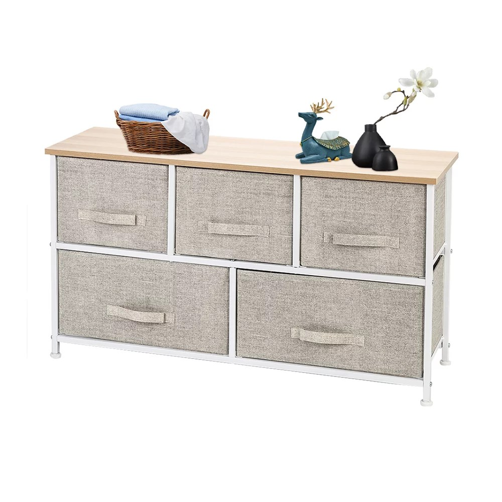 2 tier wide closet dresser nursery dresser tower with 5 easy pull fabric drawers and metal frame multi purpose organizer unit for closets dorm