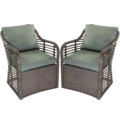 Resin Wicker Lounge Chairs High Patio Hampton Bay Set Of 2 Outdoor Cushions Garden Walmart Com