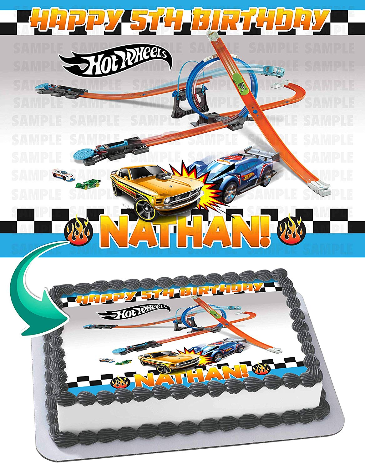 Hot Wheels Cake Walmart : wheels, walmart, Wheels, Edible, Image, Topper, Personalized, Birthday, Party, Sheet, (8