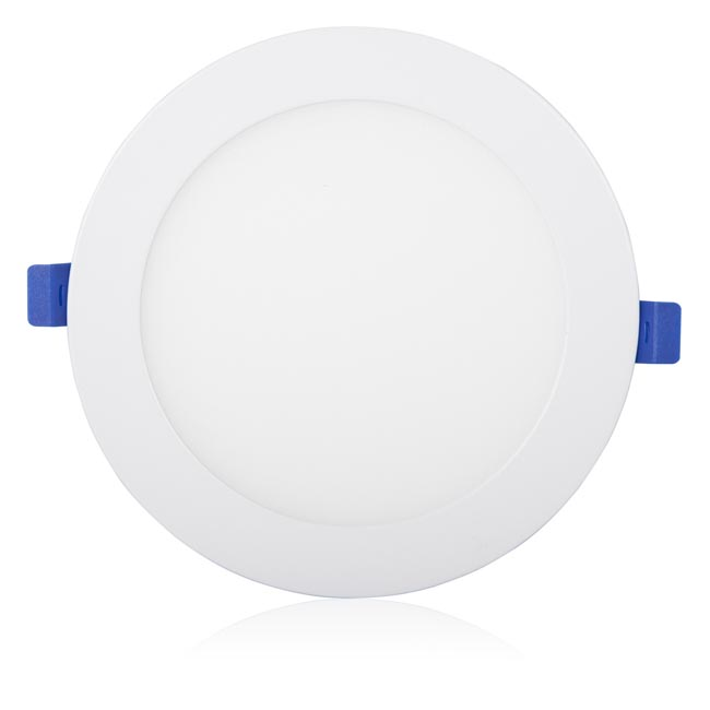 maxxima 6 in dimmable slim round led downlight flat panel light 1050 lumens warm white 2700k