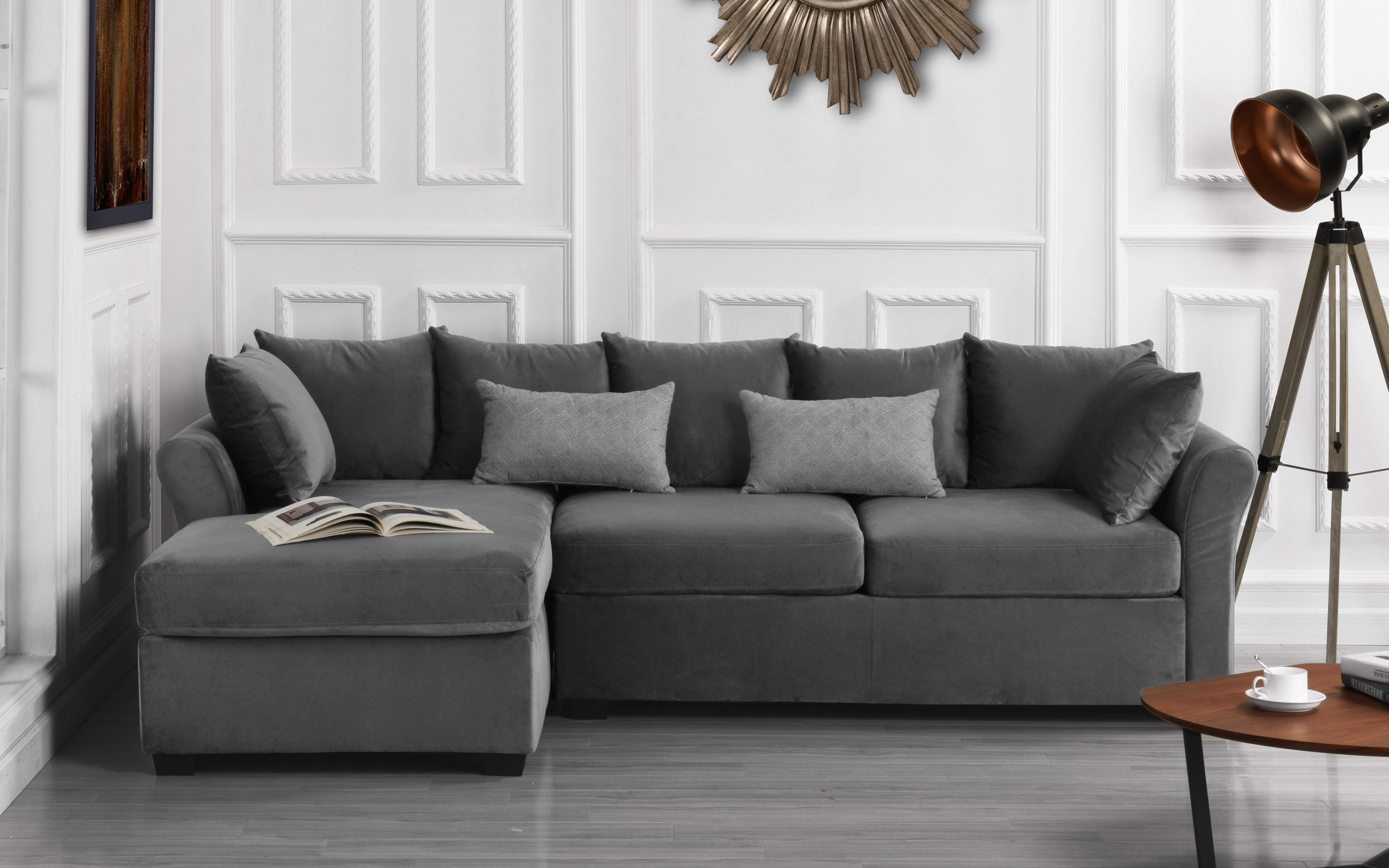 modern home large microfiber velvet sectional sofa dark grey